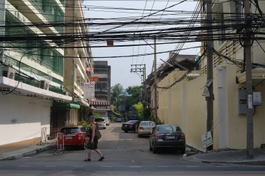 Tourists and Power lines in Bangkok