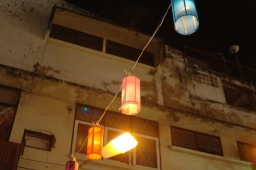 Lanterns floating above our heads at Anusarn night market