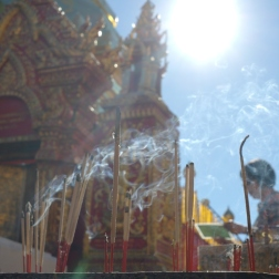 Incense sticks in the sunlight