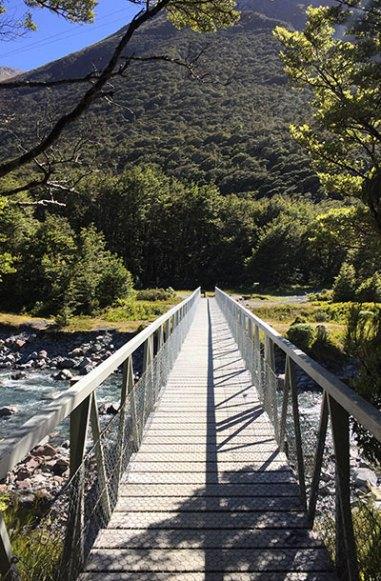 The bridge leading over to Devil's Puncbowl Falls.